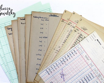 collection of 12 old paper, cash book, accounting book, ledger paper vintage, antique, ephemera pack