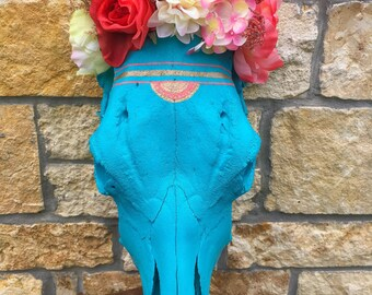 Floral Turquoise cow Skull