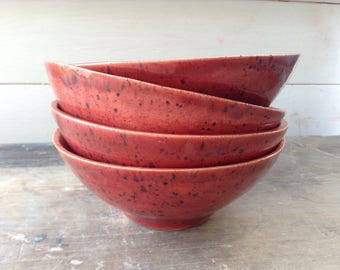 Handmade ceramic bowl Red with dark blue speckles perfect for cereals, salads, soup, rice, noodles and desserts. Modern rustic pottery