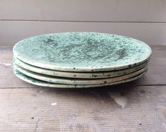 Handmade organic ceramic dinner plate crocodile green. Prefect serving plate, kitchen platter. Modern rustic pottery
