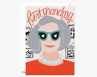 Best Grandma Stylish Granny for Grandparent's Day    Illustrated Greeting Card