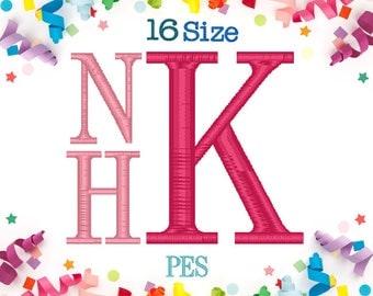 16 Sizes Stacked Monogram Embroidery Font PES Format Embroidery Machine,Embroidery Font,Embroidery Design Monogram Font,Roman Font