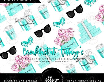 Breakfast at Tiffany's Themed Clipart Bundle by Elle P. Studio Limited Time - Only Avail during our BF Sale (Use Code: ELLE30 for 30% off!)