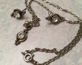 Silver Tone and Faux Diamond Necklace & Earring Set, Jewelry Set, Antique Looking Necklace and Earrings, Silver, Pendant Necklace