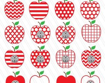Apple SVG, Apple clipart, Teacher svg, Fruit vector, Apple Monogram SVG, cricut - svg,dxf eps,ai, pdf - Instant Download