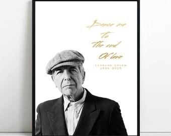Leonard COHEN Print, Dance me to the end of love poster, song lyrics wall art, celebrities wall decor, Leonard COHEN minimal digital print
