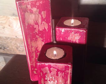 Red distressed, chippy paint effect, candle holders made from reclaimed wood, rustic, distressed, nautical, weathered