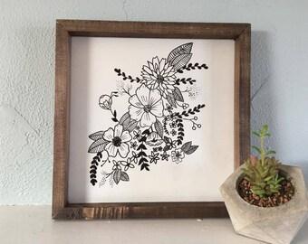 Illustrated Floral Framed Sign