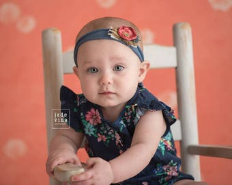 Coral and Blue Newborn Tieback - Blue Tieback Photography Prop - Newborn Photo Prop - Baby Girl Headband - Floral Headband - Tie Back - RTS