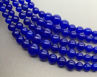 "16""Full Strand 6-14mm Navy Blue Jade Graduated  Round Beads, Wholesale Graduated Necklace"