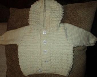 Baby Aran Hooded Jacket (Cream)