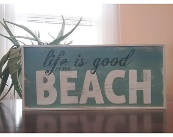 Distressed Farmhouse Style Hand Painted BEACH Wood Framed Sign