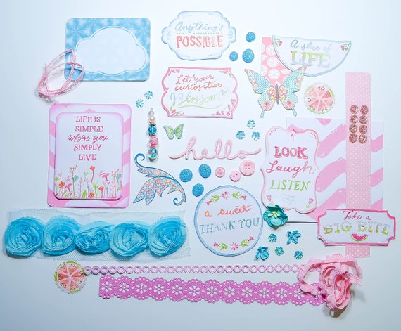 Pastel Pink n' Turquoise Cardmaking/Scrapbook Embellishments Kit: Flowers, Borders, Cardstock Embellishments, Die Cuts, Flower Ribbon
