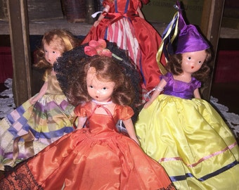 """Nancy Ann Story Book Dolls NASB Lot of 4 """"Tall"""" w/o tags -All are """"frozen"""" dolls and are sold as pictured"""