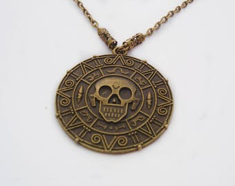 Pirates of Caribbean Necklace, Aztec Coin Necklace, Skull Necklace