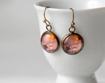 Earrings pink owls