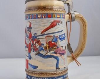 """Vintage German Beer Stein  / Ceramic mug/ Barware/ W. Germany Beer Stein """"XV OLYMPIC Winter Games -  Calgary . . ."""""""