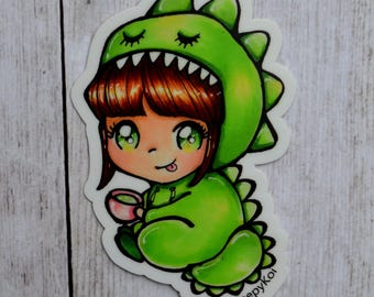 Dragon Matcha Chibi Girl 3 Inch Vinyl Sticker (Inspired by the love of tea, dragons and dinosaurs! raawr!!)