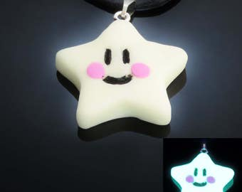 1 x Cute Glow in the Dark Star Pendant on Black Adjustable Cord Necklace  UV glow rave punk emo cutesy anime mens/ladies jewellery UK SELLER