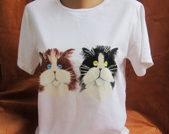 Womens Shirt, Cat, Kittens, Painted Tshirt, Unique, Hand Painted Clothing, White, Organic Cotton, Women's Clothing, Funny, Birthday Gift