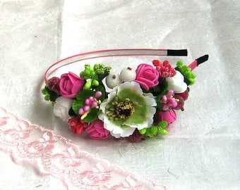 Pink floral crown Flower headband Hair Vine Bridal headband Flower crown Flower wreath Hair band Headwear Festival Garland Wedding circlet