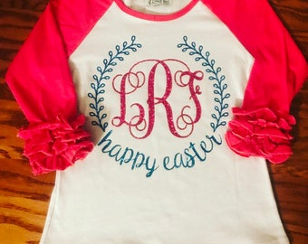 Little girls Happy Easter ruffle raglan with monogram. Toddler & baby Easter outfit. Personalized spring shirt for infants.