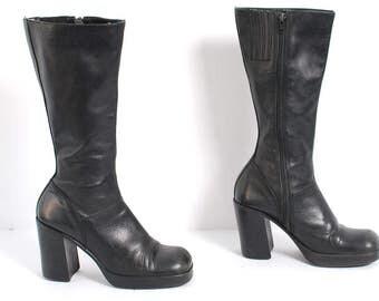 STEVE MADDEN Platform CHUNKY Heel Black Leather Boots size 7