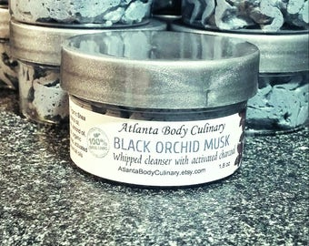 Activated charcoal whipped soap organic activated charcoal soap activated charcoal cleanser black orchid musk soap