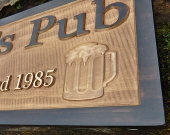 Wood pub sign, rustic beer sign, open bar sign, cool groomsmen gift, beer man cave sign, rustic bar sign, established sign, family name sign