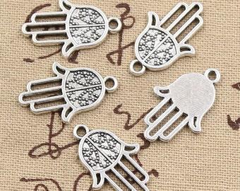 10 Hamsa Palm Hand Protection Charm Antique Silver Tone Hand Charms Fatima Charms Charm Bracelet Bangle Bracelet Pendants #688