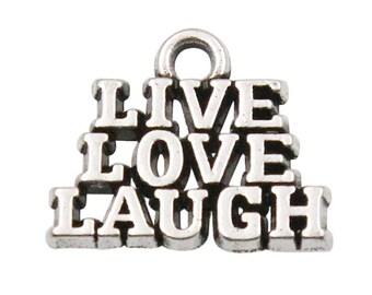 4 Live Love Laugh Charms Antique Silver Tone Charms Affirmation Charms Charms Bracelet Bangle Bracelet Pendants #47