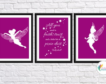 Download - Tinkerbell Printable - Set of 3 Raspberry Tinkerbell Fairy  Prints - Set of 3