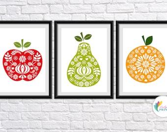 Fruit Prints, Kitchen Prints, Scandinavian Kitchen Prints, Mid-Century Design Fruit Prints, Retro Fruit Prints, Vintage Prints, Scandi Style