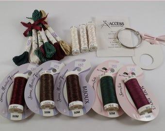30% off - Au Ver A Soie silk / Soie D'Alger / Paris / Perlee / Bijoux / Thread KIT for Just Nan's 'Christmas Elegance' JN079