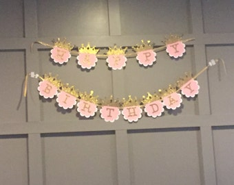 Pink and Gold Princess Happy Birthday Banner