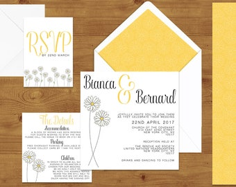 Lemon Yellow Daisy Wedding Invitations Stationery Set  - Printed or Digital Download - Daisy Wedding - Yellow Wedding - Wedding Printable