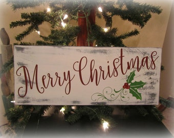 White Merry Christmas Wood Sign. Chalk Painted Merry Christmas Sign. Merry Christmas Mantel Decor. Rustic Merry Christmas Decor.