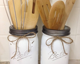 Mason Jar Utensil Holders, sold as a Pair, Dixie Belle Chalk Painted and lightly distressed, Farmhouse kitchen, Rustic Kitchen