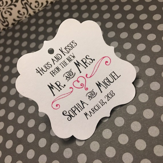 Wedding Favor Tags Hugs And Kisses Thank You Hershey Kiss Favors Gold Foil From WellWishesPress On Etsy Studio