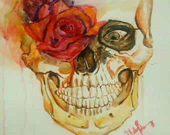 Skull Painting Original Watercolor **Free US Shipping**