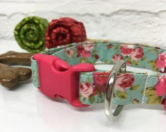 Vintage style dog collar| Adjustable dog collar | small dog | medium dog collar | new dog collar | green dog collar |