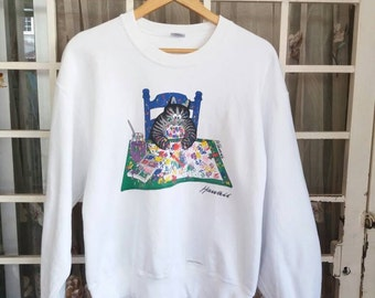 Vintage Crazy shirt hawaii sweatshirt soellout with big picture/white/medium/made in usa