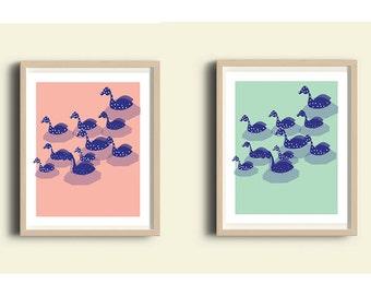 Nursery printable set, pink, blue, nursery illustration, duck print set, baby room decor, woodland nursery set, baby room, duckling print