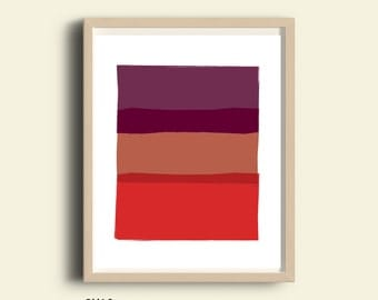 Bright wall art, PRINTABLE abstract art print, modern wall art, red color block, printable wall art, abstract wall art, red art, bedroom art
