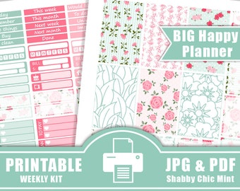 50% SALE 2017 BIG Happy Planner Stickers Printable,Large Happy Planner Stickers,Happy Planner Stickers, Shabby Chic Mint