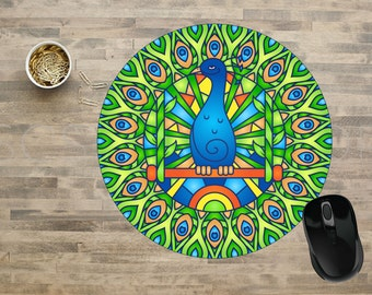 Mandala Mouse Pad, Peacock Mandala Mouse Pad, Peacock Mouse Pad, Computer Mouse Pads,  Mouse pad, Cute Mouse Pads, Mouse Pad