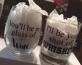 I'll Be Your Glass Of Wine, You Be My Shot Of Whiskey Glass Set, Blake Shelton Inspired Glasses, Honey Bee Inspired Wine Glasses