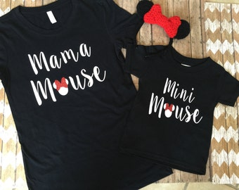 Mama Mouse and Mini Mouse ( Minnie mouse) matching Mum and child / baby T shirts Mother and daughter