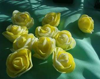 10 piece yellow and white foam flower