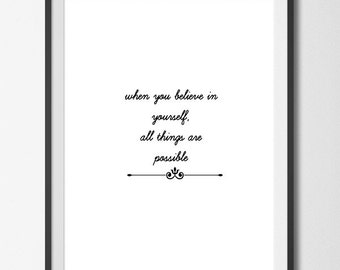 All Things Are Possible, Digital Print, Instant Digital Download, Print, White Background,  Wall Art, Gallery/Office/Home